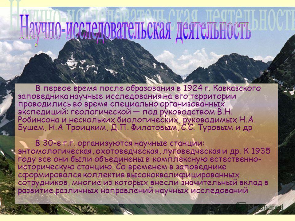В первое время после образования в 1924 г. Кавказского заповедника научные исследования на его территории проводились во время специально организованных экспедиций: геологической под руководством В.Н. Робинсона и нескольких биологических, руководимых
