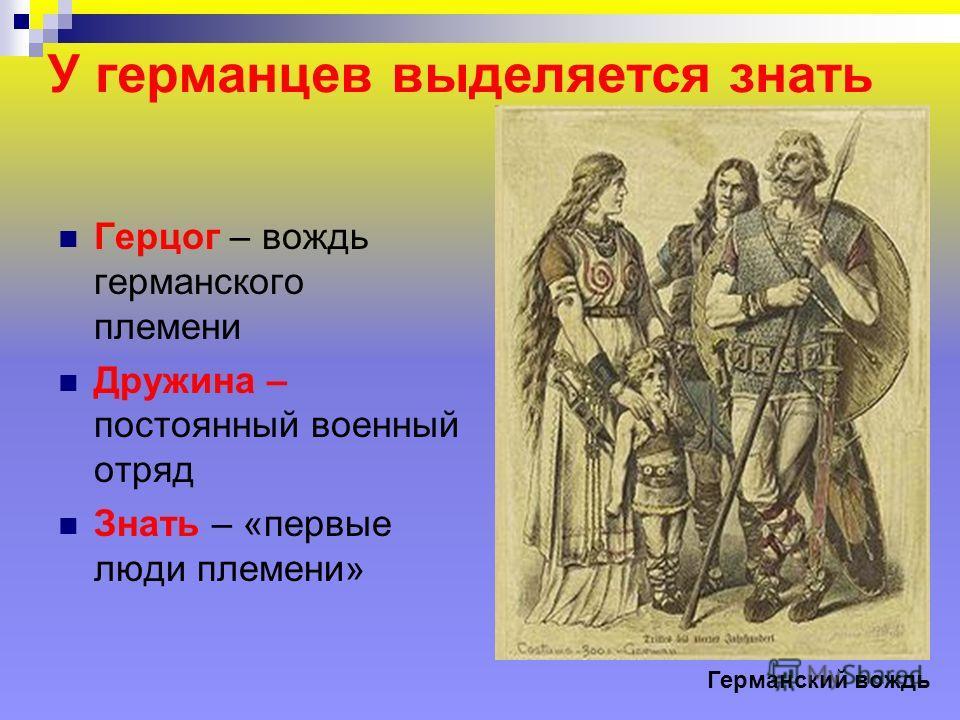 У германцев выделяется знать Герцог – вождь германского племени Дружина – постоянный военный отряд Знать – «первые люди племени» Германский вождь