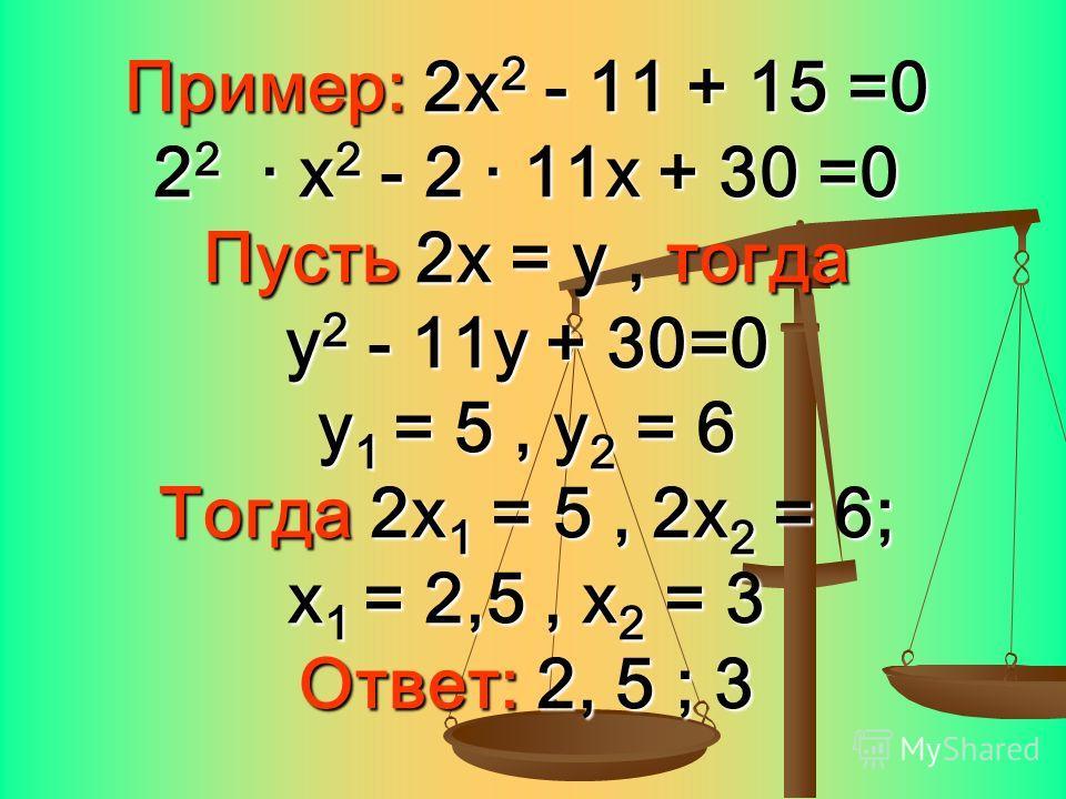 Пример: 2х2 - 11 + 15 =0 22 · х2 - 2 · 11х + 30 =0 Пусть 2х = у, тогда у2 - 11у + 30=0 у1 = 5, у2 = 6 Тогда 2х1 = 5, 2х2 = 6; х1 = 2,5, х2 = 3 Ответ: 2, 5 ; 3