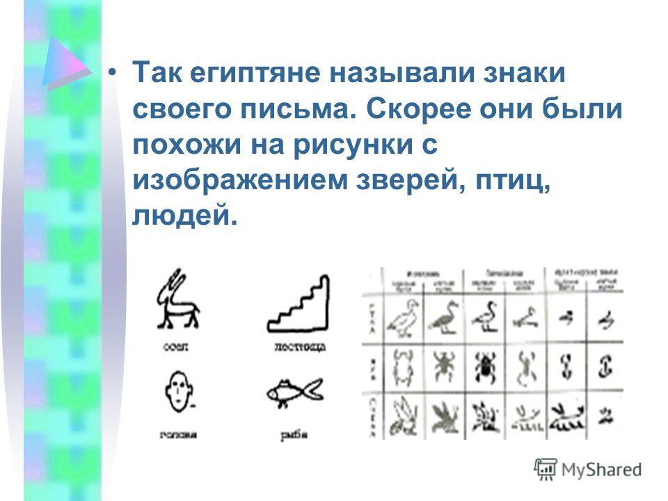 Так египтяне называли знаки своего письма. Скорее они были похожи на рисунки с изображением зверей, птиц, людей.
