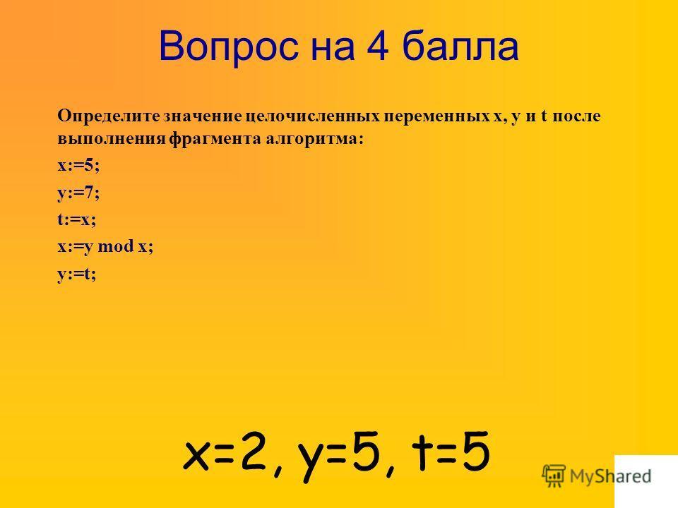Вопрос на 4 балла Определите значение целочисленных переменных x, y и t после выполнения фрагмента алгоритма: x:=5; y:=7; t:=x; x:=y mod x; y:=t; x=2, y=5, t=5