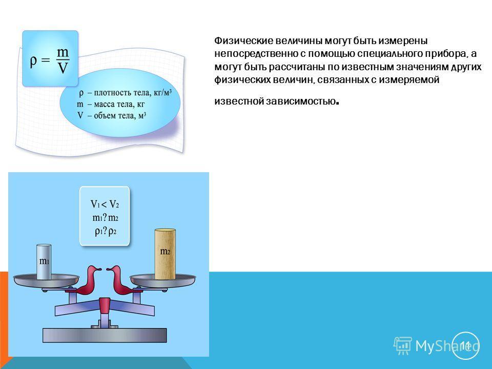 Физические величины могут быть измерены непосредственно с помощью специального прибора, а могут быть рассчитаны по известным значениям других физических величин, связанных с измеряемой известной зависимостью. 11