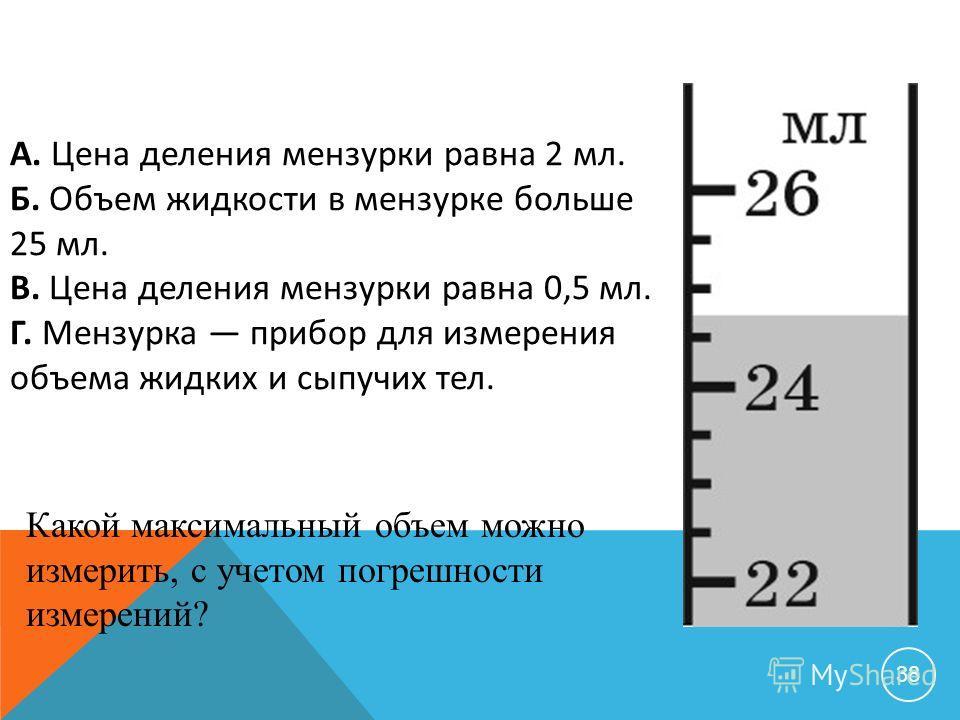 38 А. Цена деления мензурки равна 2 мл. Б. Объем жидкости в мензурке больше 25 мл. В. Цена деления мензурки равна 0,5 мл. Г. Мензурка прибор для измерения объема жидких и сыпучих тел. Какой максимальный объем можно измерить, с учетом погрешности изме