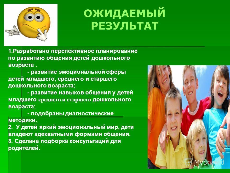 ОЖИДАЕМЫЙ РЕЗУЛЬТАТ 1.Разработано перспективное планирование по развитию общения детей дошкольного возраста. - развитие эмоциональной сферы детей младшего, среднего и старшего дошкольного возраста; - развитие навыков общения у детей младшего среднего