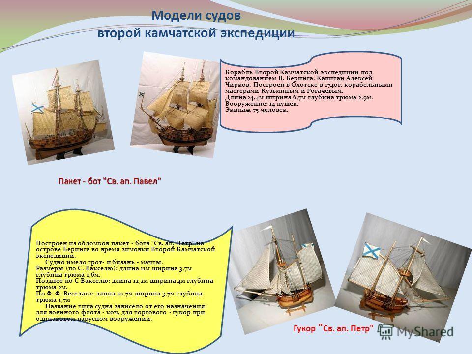 Модели судов второй камчатской экспедиции Пакет - бот