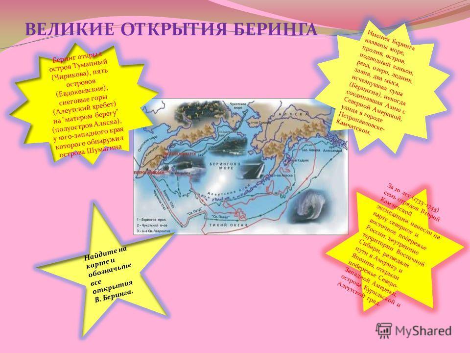 ВЕЛИКИЕ ОТКРЫТИЯ БЕРИНГА Беринг открыл остров Туманный (Чирикова), пять островов (Евдокеевские), снеговые горы (Алеутский хребет) на