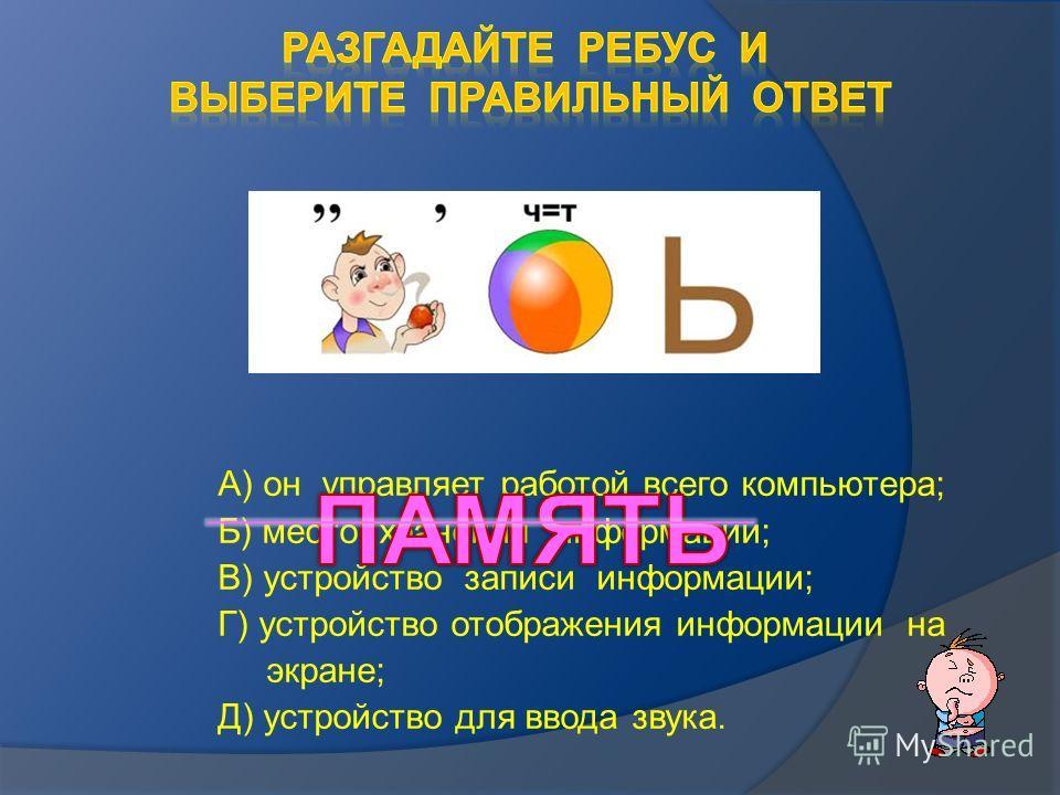 А) он управляет работой всего компьютера; Б) место хранения информации; В) устройство записи информации; Г) устройство отображения информации на экране; Д) устройство для ввода звука.