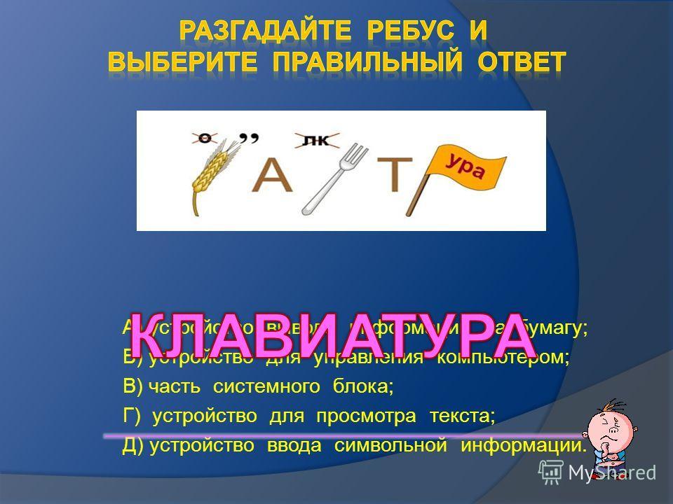 А) устройство вывода информации на бумагу; Б) устройство для управления компьютером; В) часть системного блока; Г) устройство для просмотра текста; Д) устройство ввода символьной информации.