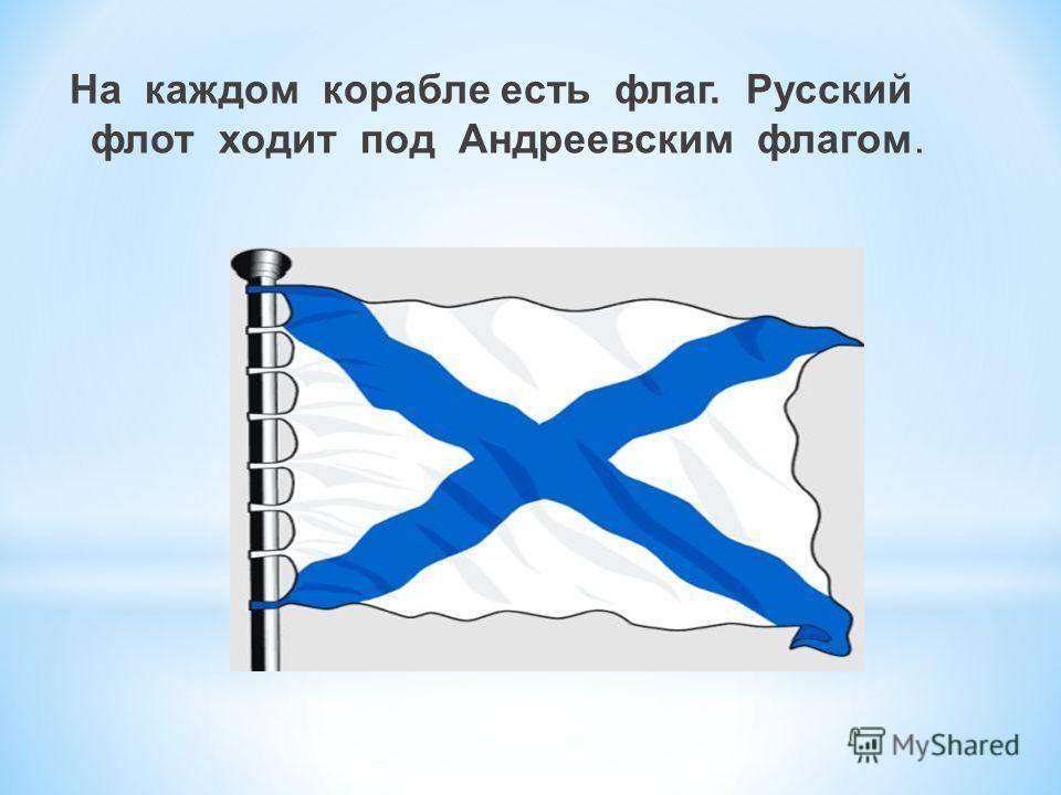 На каждом корабле есть флаг. Русский флот ходит под Андреевским флагом.