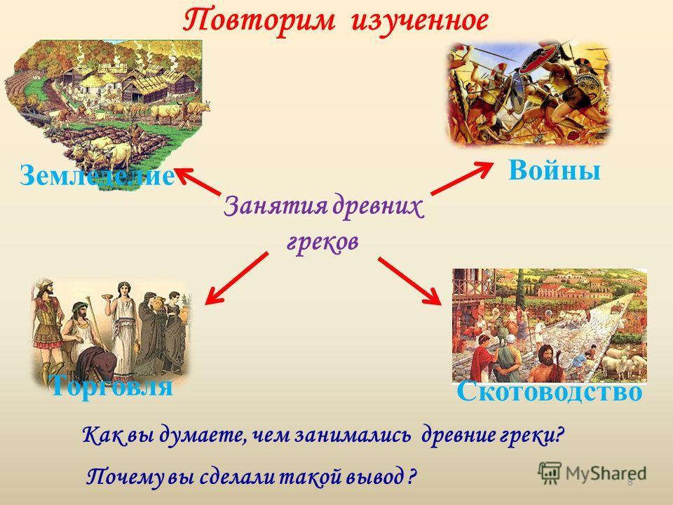 Повторим изученное Как вы думаете, чем занимались древние греки? Почему вы сделали такой вывод ? Войны Торговля Скотоводство Земледелие Занятия древних греков 8