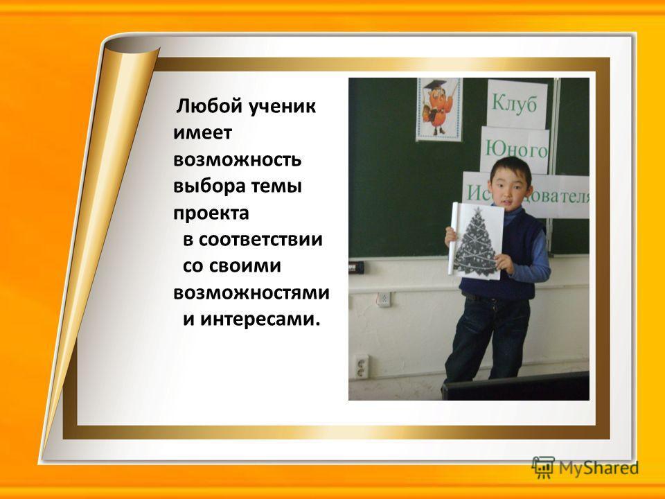 Любой ученик имеет возможность выбора темы проекта в соответствии со своими возможностями и интересами.