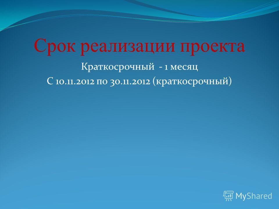 Срок реализации проекта Краткосрочный - 1 месяц С 10.11.2012 по 30.11.2012 (краткосрочный)