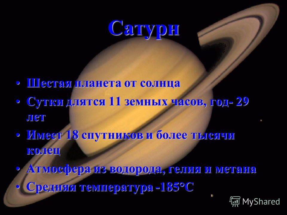 Сатурн Шестая планета от солнцаШестая планета от солнца Сутки длятся 11 земных часов, год- 29 летСутки длятся 11 земных часов, год- 29 лет Имеет 18 спутников и более тысячи колецИмеет 18 спутников и более тысячи колец Атмосфера из водорода, гелия и м