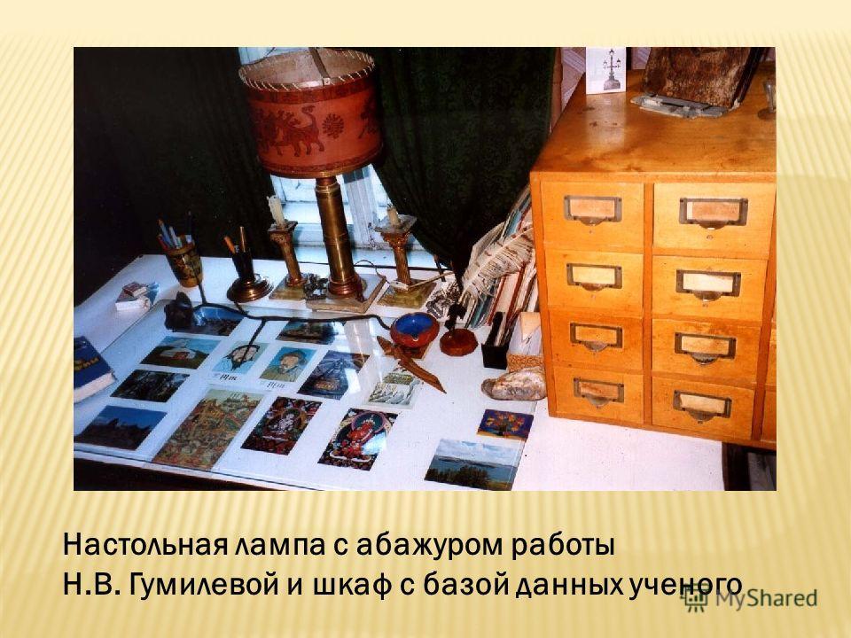 Настольная лампа с абажуром работы Н.В. Гумилевой и шкаф с базой данных ученого