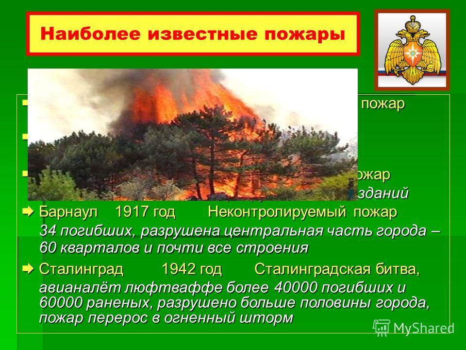 Наиболее известные пожары Лондон1666 годВеликий лондонский пожар 13000 домов и 87 церквей разрушены Лондон1666 годВеликий лондонский пожар 13000 домов и 87 церквей разрушены Москва1812 годМосковский пожар Москва1812 годМосковский пожар после взятия г