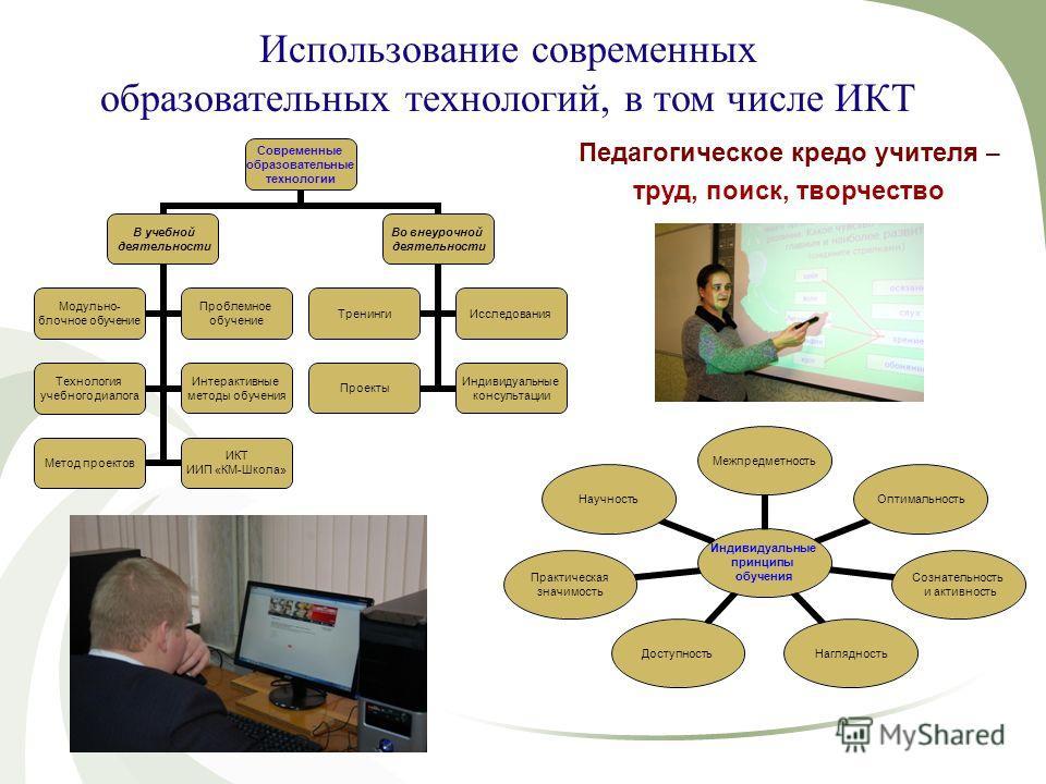 Использование современных образовательных технологий, в том числе ИКТ Современные образовательные технологии В учебной деятельности Модульно- блочное обучение Проблемное обучение Технология учебного диалога Интерактивные методы обучения Метод проекто