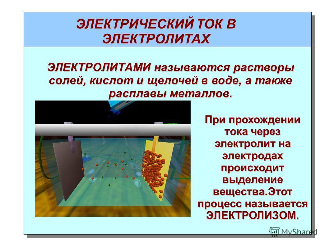 ЭЛЕКТРИЧЕСКИЙ ТОК В ЭЛЕКТРОЛИТАХ ЭЛЕКТРОЛИТАМИ называются растворы солей, кислот и щелочей в воде, а также расплавы металлов. При прохождении тока через электролит на электродах происходит выделение вещества.Этот процесс называется ЭЛЕКТРОЛИЗОМ.