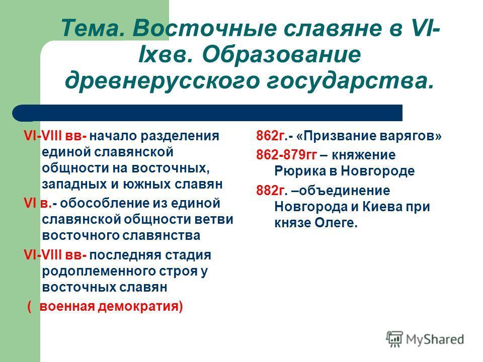 Тема. Восточные славяне в VI-