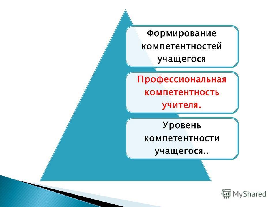 Формирование компетентностей учащегося Профессиональная компетентность учителя. Уровень компетентности учащегося..