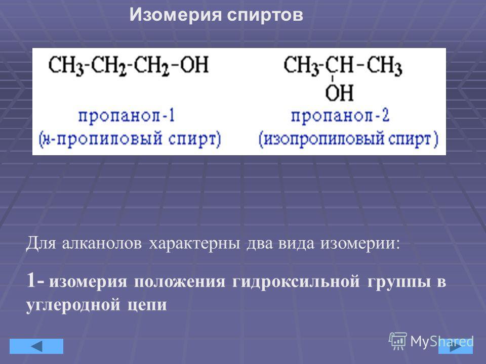 Алканолы образуют гомологический ряд общей формулы C n H 2n+1 OH (n=1,2,3,:N). Названия алканолов по систематической номенклатуре строятся из названий соответствующих алканов путём добавления суффикса «ол» Метиловый спирт Этиловый спирт Пропиловый сп