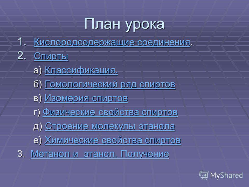 Спирты Урок в 10 классе Учитель Кириллова Р.В.