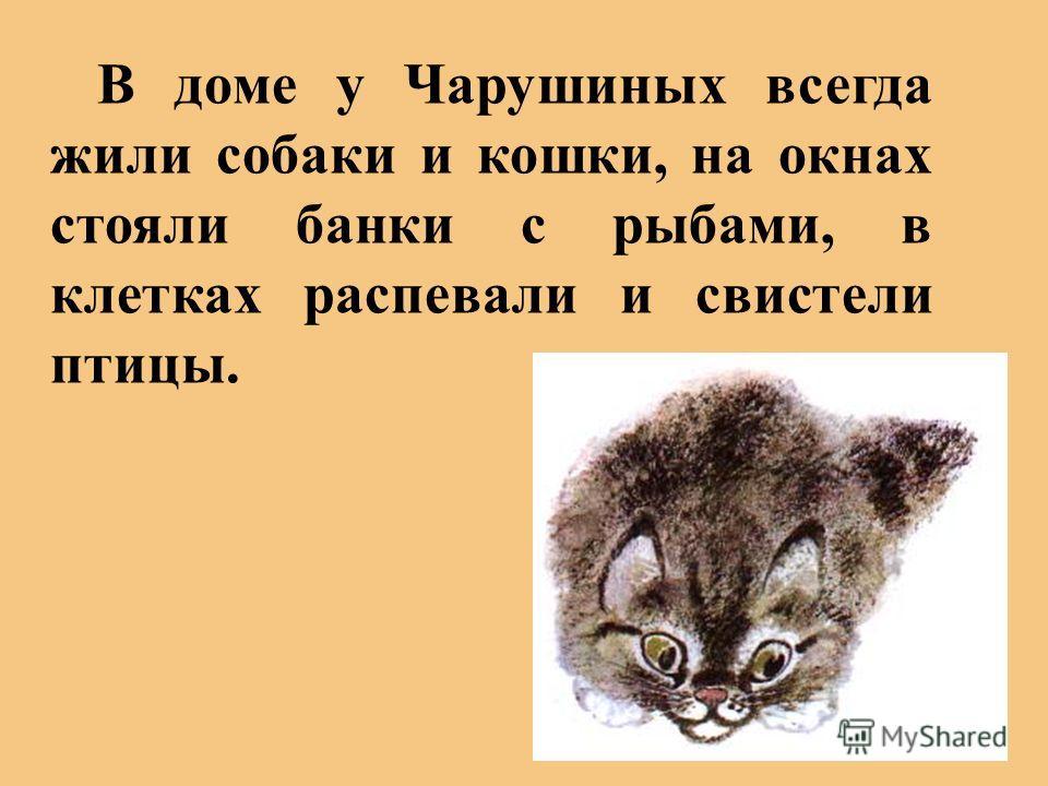 В доме у Чарушиных всегда жили собаки и кошки, на окнах стояли банки с рыбами, в клетках распевали и свистели птицы.