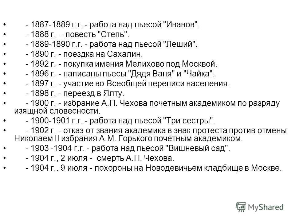 - 1887-1889 г.г. - работа над пьесой