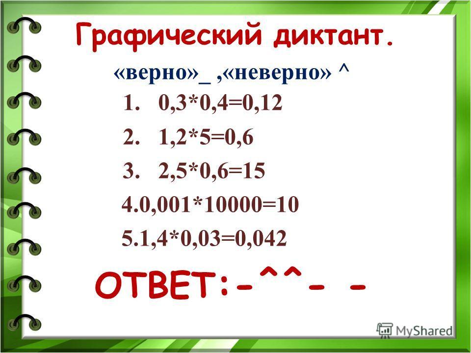 Графический диктант. «верно»_,«неверно» ^ 1. 0,3*0,4=0,12 2. 1,2*5=0,6 3. 2,5*0,6=15 4.0,001*10000=10 5.1,4*0,03=0,042 ОТВЕТ :-^^- -