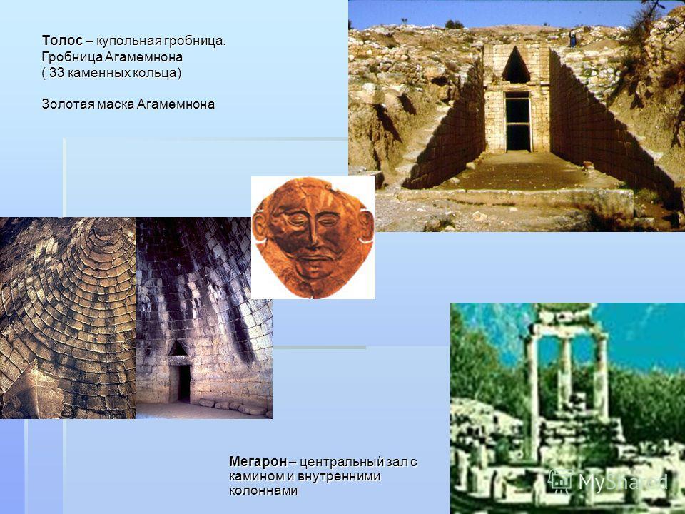 Толос – купольная гробница. Гробница Агамемнона ( 33 каменных кольца) Золотая маска Агамемнона Мегарон – центральный зал с камином и внутренними колоннами Мегарон – центральный зал с камином и внутренними колоннами
