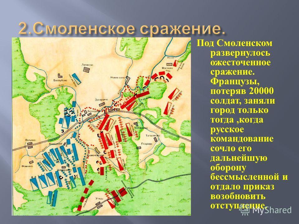 Под Смоленском развернулось ожесточенное сражение. Французы, потеряв 20000 солдат, заняли город только тогда, когда русское командование сочло его дальнейшую оборону бессмысленной и отдало приказ возобновить отступление.