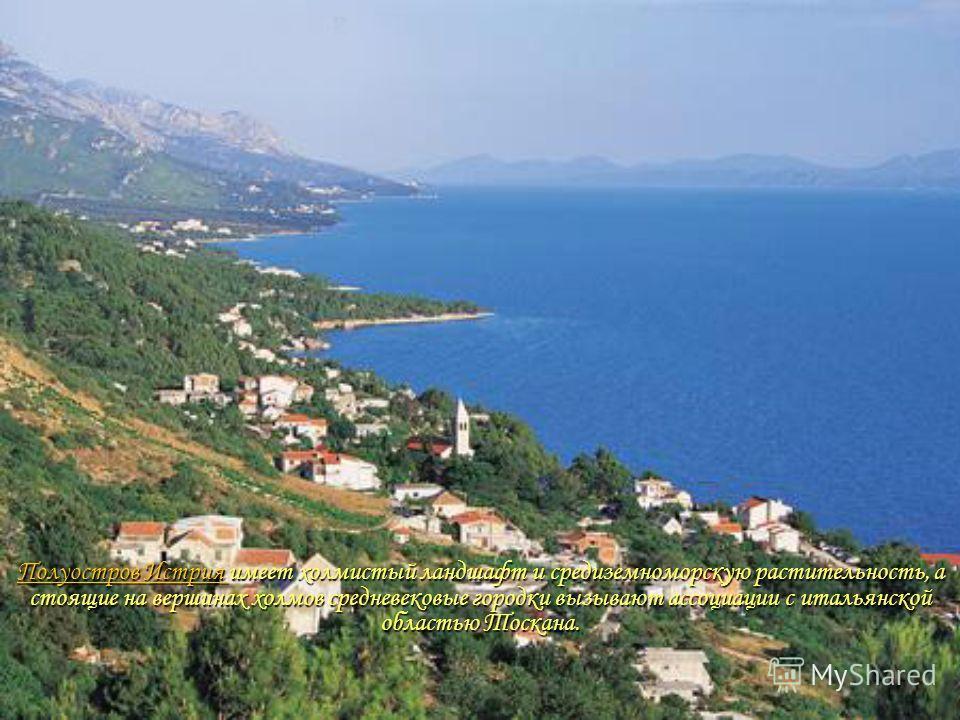 Полуостров Истрия Полуостров Истрия имеет холмистый ландшафт и средиземноморскую растительность, а стоящие на вершинах холмов средневековые городки вызывают ассоциации с итальянской областью Тоскана. Полуостров Истрия
