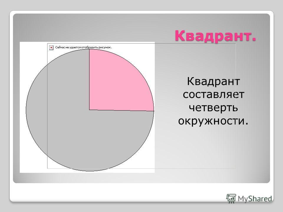 Квадрант. Квадрант составляет четверть окружности.