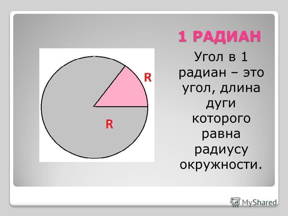 1 РАДИАН Угол в 1 радиан – это угол, длина дуги которого равна радиусу окружности.