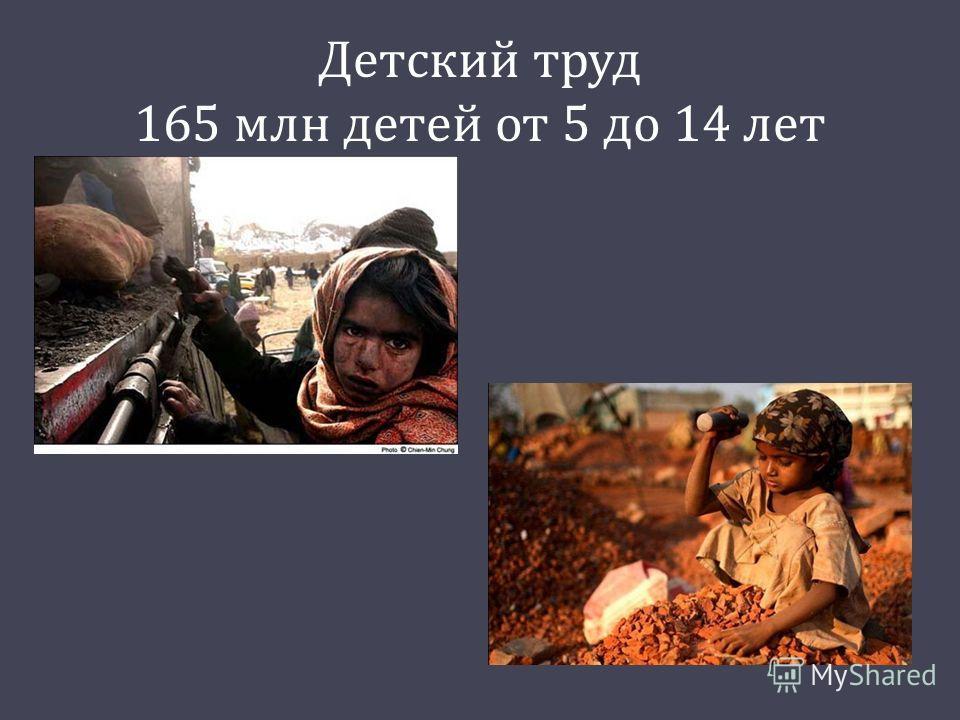 Детский труд 165 млн детей от 5 до 14 лет