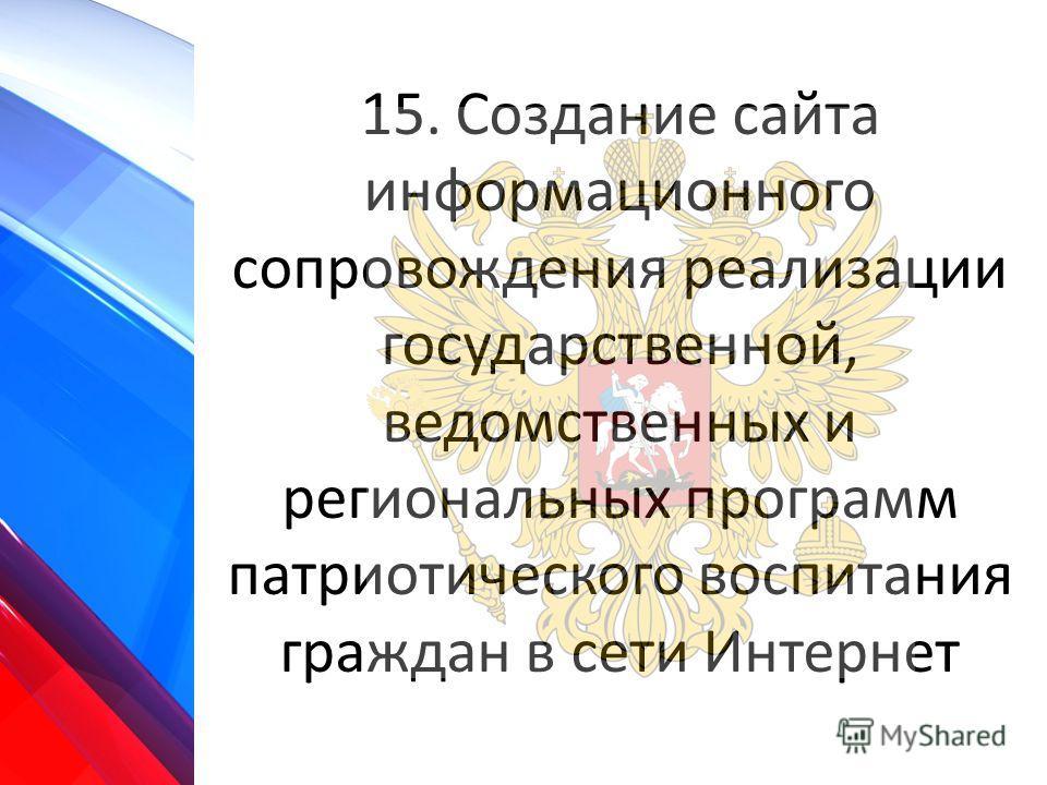 15. Создание сайта информационного сопровождения реализации государственной, ведомственных и региональных программ патриотического воспитания граждан в сети Интернет