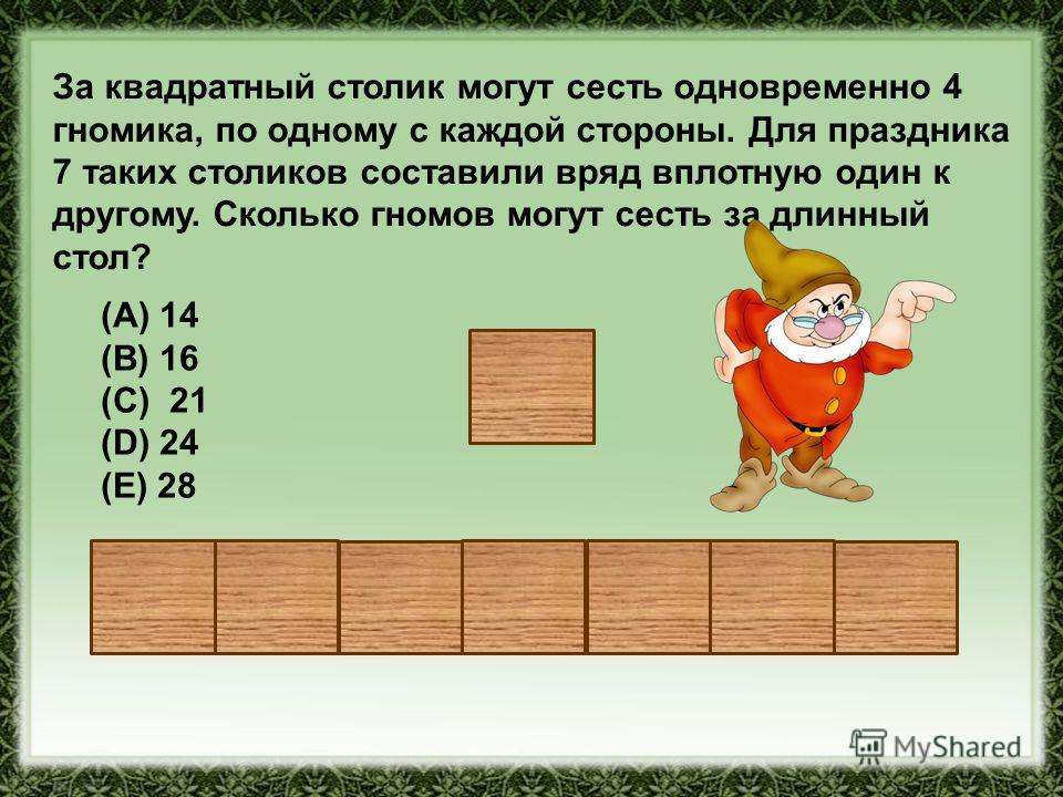 За квадратный столик могут сесть одновременно 4 гномика, по одному с каждой стороны. Для праздника 7 таких столиков составили вряд вплотную один к другому. Сколько гномов могут сесть за длинный стол? (A) 14 (В) 16 (С) 21 (D) 24 (Е) 28