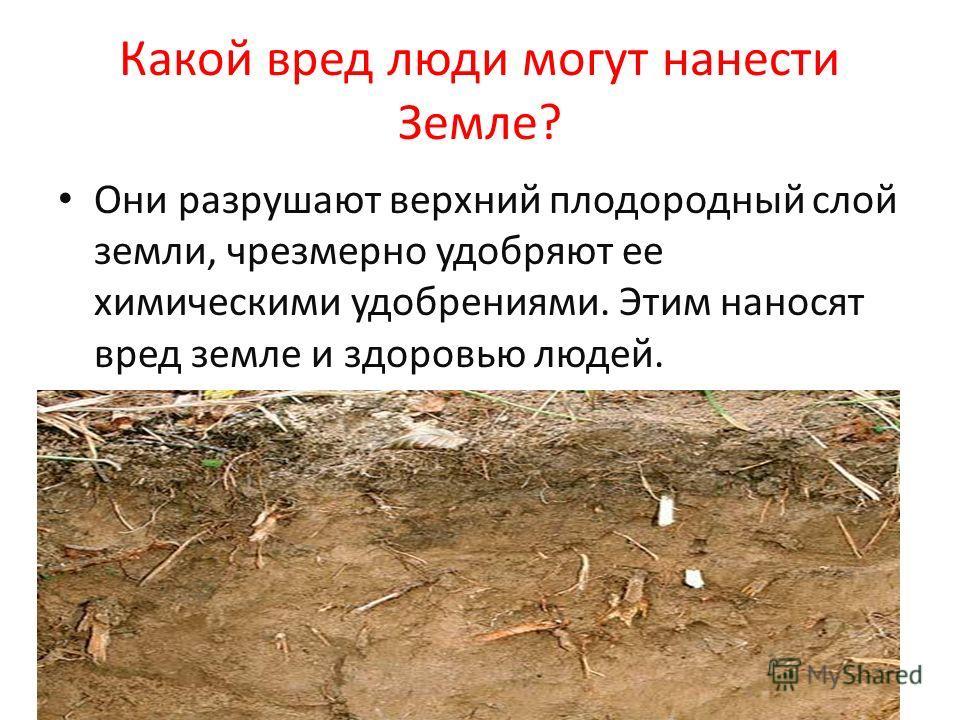 Какой вред люди могут нанести Земле? Они разрушают верхний плодородный слой земли, чрезмерно удобряют ее химическими удобрениями. Этим наносят вред земле и здоровью людей.