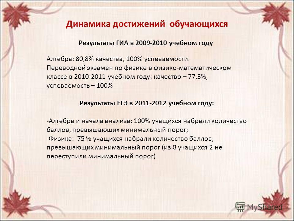 Динамика достижений обучающихся Результаты ГИА в 2009-2010 учебном году Алгебра: 80,8% качества, 100% успеваемости. Переводной экзамен по физике в физико-математическом классе в 2010-2011 учебном году: качество – 77,3%, успеваемость – 100% Результаты