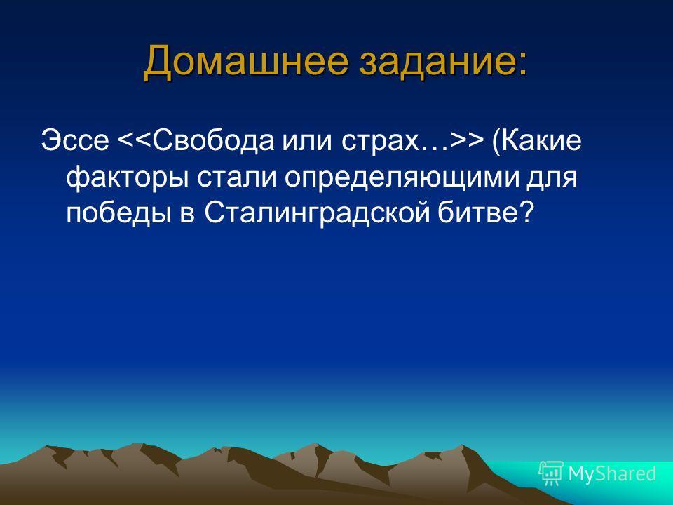 Домашнее задание: Эссе > (Какие факторы стали определяющими для победы в Сталинградской битве?