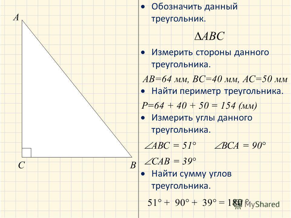 Обозначить данный треугольник. Измерить стороны данного треугольника. Найти периметр треугольника. Измерить углы данного треугольника. Найти сумму углов треугольника. A BC ABC AB=64 мм, BC=40 мм, АС=50 мм Р=64 + 40 + 50 = 154 (мм) АВС = 51 ВСА = 90 С