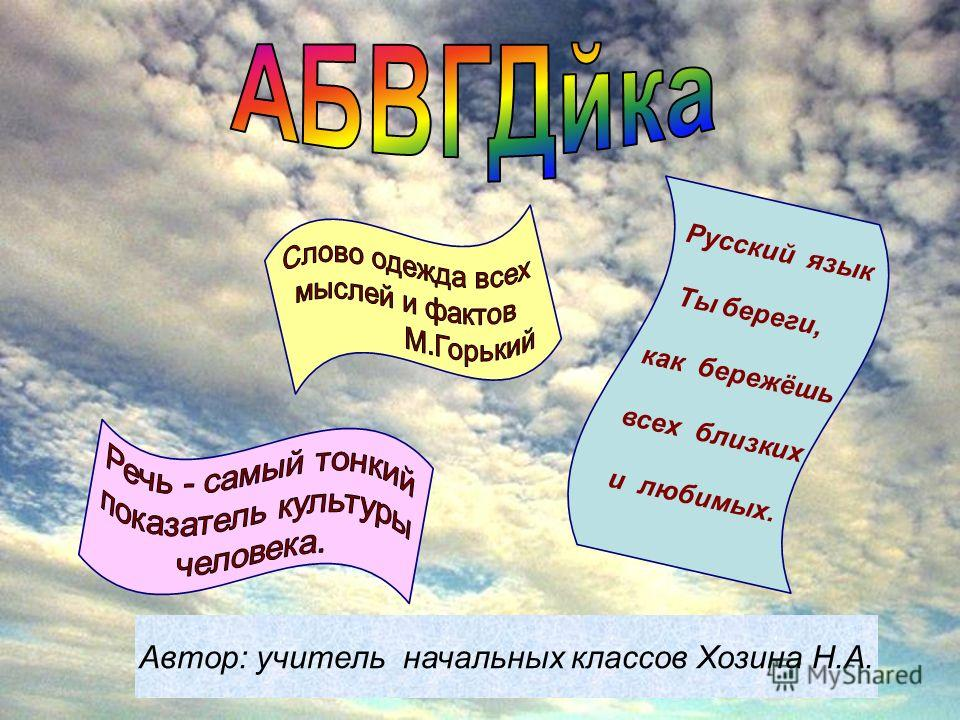 Автор: учитель начальных классов Хозина Н.А. Русский язык Ты береги, как бережёшь всех близких и любимых.