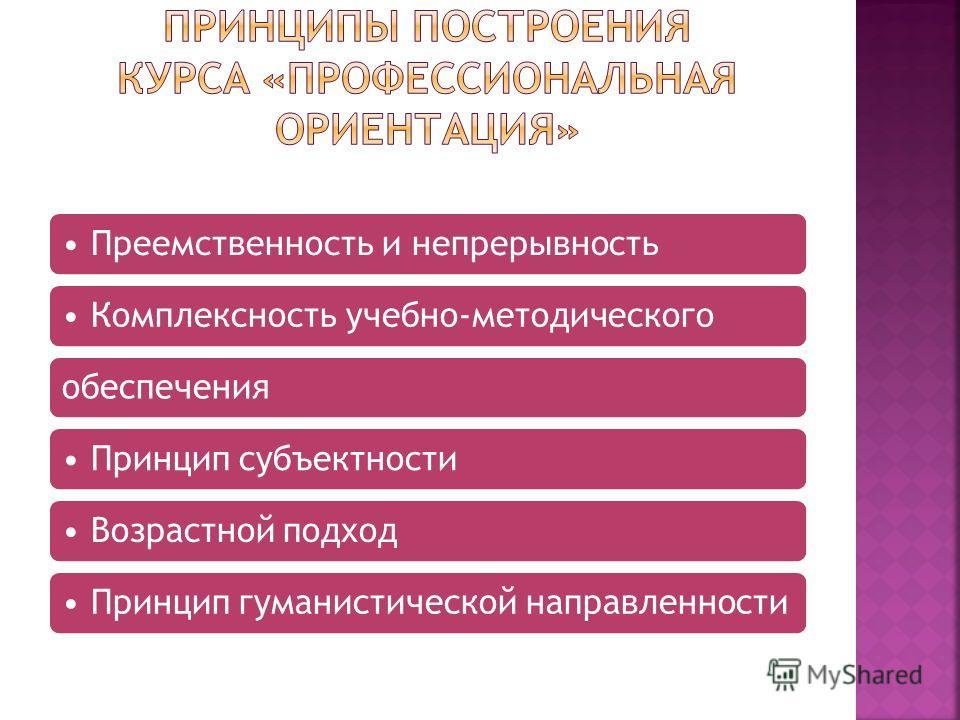 Преемственность и непрерывность Комплексность учебно-методическогообеспечения Принцип субъектности Возрастной подход Принцип гуманистической направленности