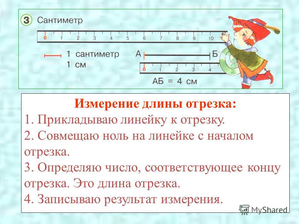Измерение длины отрезка: 1. Прикладываю линейку к отрезку. 2. Совмещаю ноль на линейке с началом отрезка. 3. Определяю число, соответствующее концу отрезка. Это длина отрезка. 4. Записываю результат измерения.