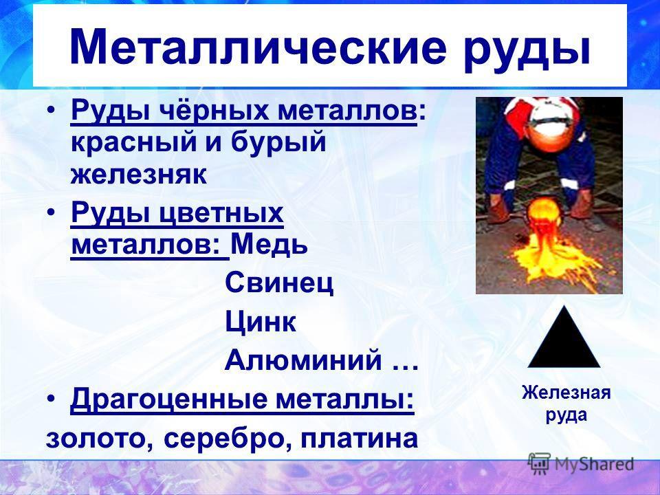 Металлические руды Руды чёрных металлов: красный и бурый железняк Руды цветных металлов: Медь Свинец Цинк Алюминий … Драгоценные металлы: золото, серебро, платина Железная руда