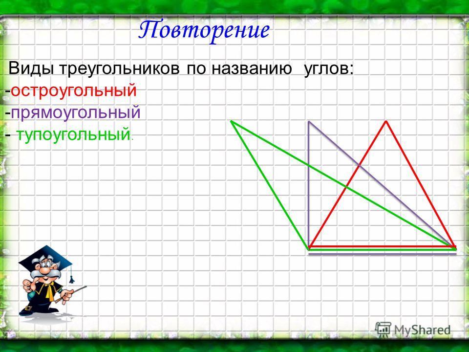 Повторение Виды треугольников по названию углов: -остроугольный -прямоугольный - тупоугольный.