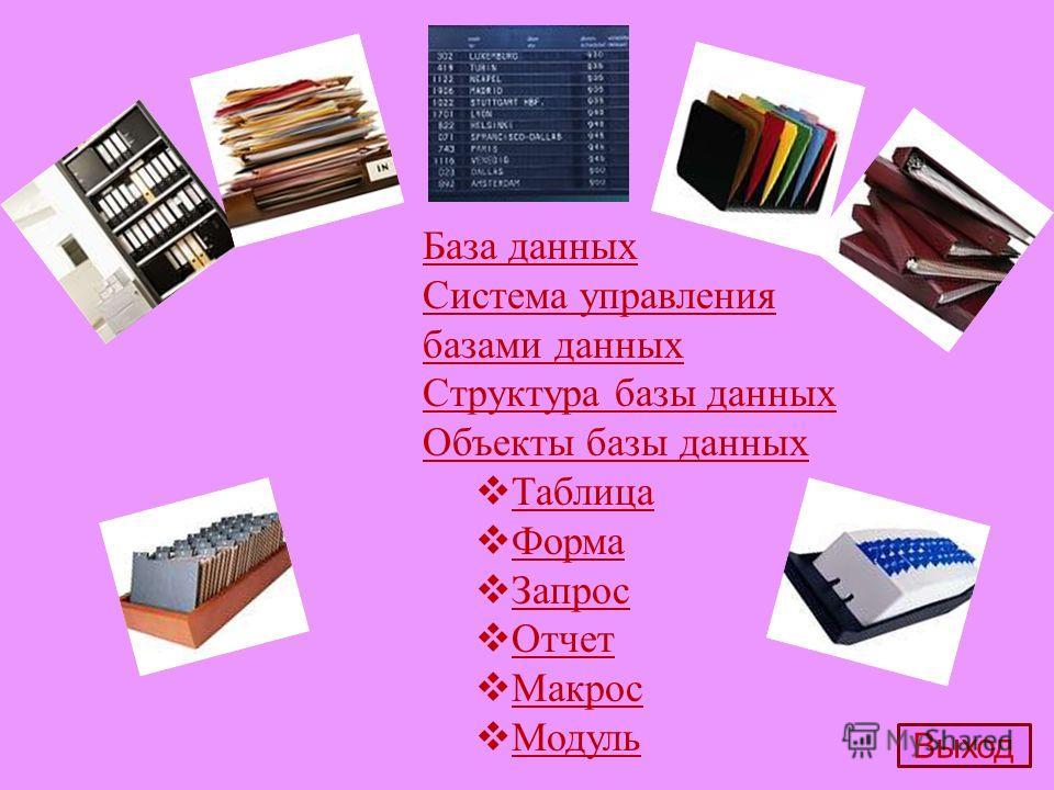 База данных Система управления базами данных Структура базы данных Объекты базы данных Таблица Форма Запрос Отчет Макрос Модуль Выход