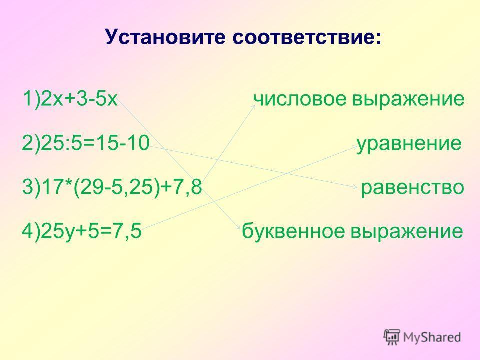 Установите соответствие: 1)2х+3-5х числовое выражение 2)25:5=15-10 уравнение 3)17*(29-5,25)+7,8 равенство 4)25у+5=7,5 буквенное выражение