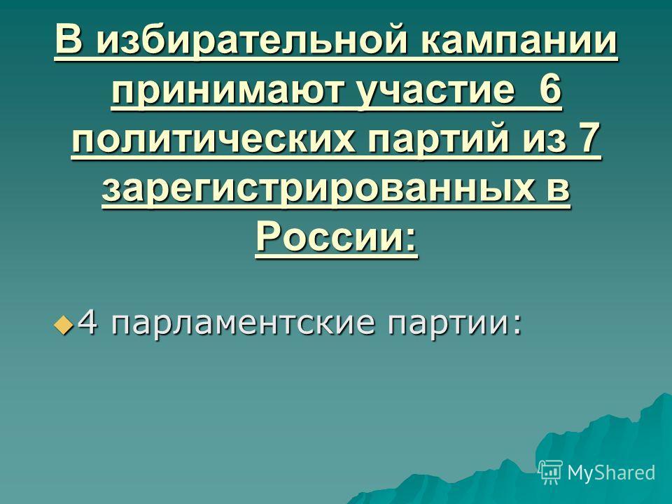 В избирательной кампании принимают участие 6 политических партий из 7 зарегистрированных в России: 4 парламентские партии: 4 парламентские партии: