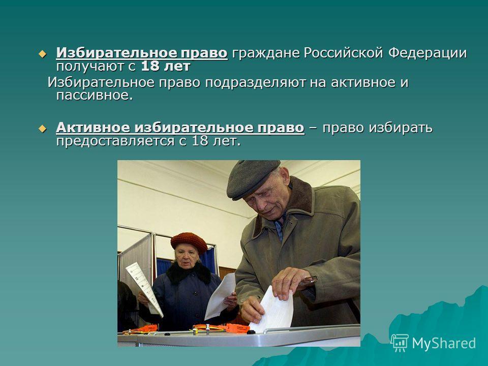 Избирательное право граждане Российской Федерации получают с 18 лет Избирательное право граждане Российской Федерации получают с 18 лет Избирательное право подразделяют на активное и пассивное. Избирательное право подразделяют на активное и пассивное