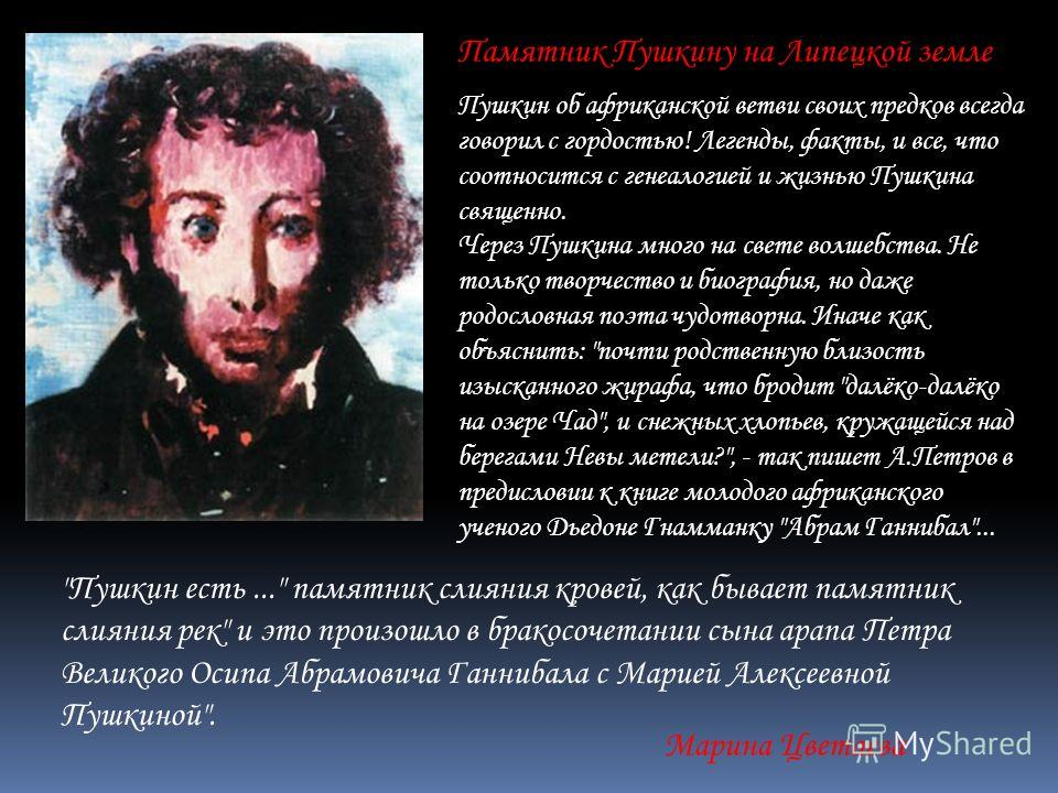 Памятник Пушкину на Липецкой земле Пушкин об африканской ветви своих предков всегда говорил с гордостью! Легенды, факты, и все, что соотносится с генеалогией и жизнью Пушкина священно. Через Пушкина много на свете волшебства. Не только творчество и б